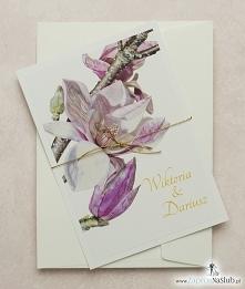 Przepiękne kwiatowe zaproszenia ślubne z magnolią w formacie A5
