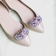 klipsy do butów ślubnych różowe biżuteryjne