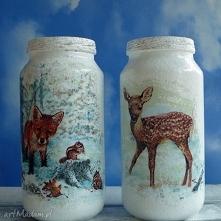 Dekoracja. Zima. Komplet dwóch szklanych słoiczków z kolekcji  Winter