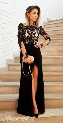 Długa, czarna sukienka na s...