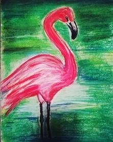 Różowy flaming <3 stworzony suchymi pastelami. Mocno wakacyjnie :) @nieidentyczna => insta