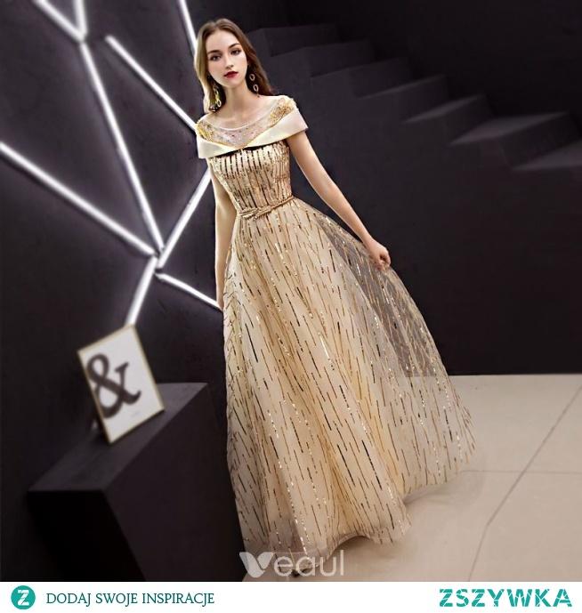 c71ac7cc6a Stylowe   Modne Złote Sukienki Wieczorowe 2019 Princessa Wycięc.. na ...
