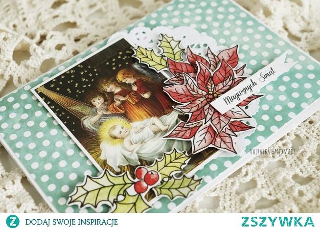 Klasyczna kartka świąteczna z religijnym motywem.  Wewnątrz pusta, możliwość wydrukowania życzeń.  Rozmiar 10,5x15cm.  W komplecie z kopertą.