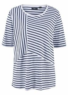 Shirt bawełniany oversize z przędzy mieszankowej, krótki rękaw bonprix indygo...
