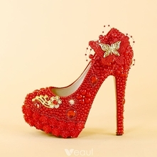 Charming Red Pearl Wedding Shoes 2019 Crystal Butterfly Flower 14 cm Stiletto Heels Round Toe Wedding Pumps