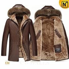 Multifunctional Leather Coat | CWMALLS® Edmonton Men Shearling Leather Parka CW858180 [Custom Made]