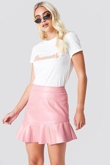 Rut&Circle Spódnica z falbanką PU - Pink