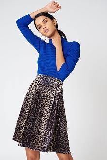 Qontrast X NA-KD Aksamitna spódnica Leopard - Multicolor