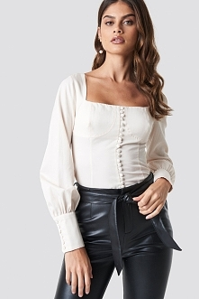 Luisa Lion x NA-KD Corset Blouse - Beige,Offwhite