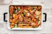 Podudzia pieczone z warzywami