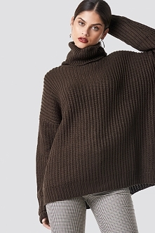 NA-KD Trend Sweter z grubej dzianiny - Brown