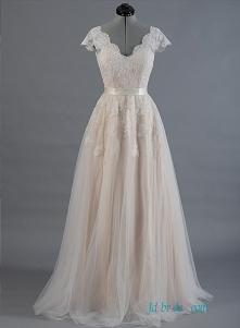 Nude kolor koszulki z opaską z iluzją koronki z tyłu #wedding #dress Model: H1493 (bezpłatna wysyłka na cały świat)