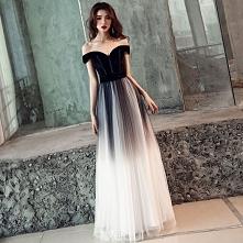 Eleganckie Gradient-Kolorów Czarne Sukienki Na Bal 2019 Princessa Przy Ramieniu Kótkie Rękawy Bez Pleców Długie Sukienki Wizytowe