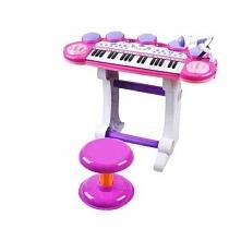 Organy Pianino Keyboard Perkusja z Mikrofonem Różowe 1374