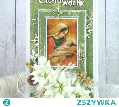 Ręcznie wykonana elegancka, warstwowa kartka świąteczna. Wykonana z wysokiej jakości papierów i dodatków do scrapbookingu. Dodatkową ozdobą jest piękna grafika, wycinanki i kompozycja kwiatowa z ręcznie wykonanych poinsecji. Format DL, wymiar ok 21x10cm, w komplecie ze standardową kopertą.