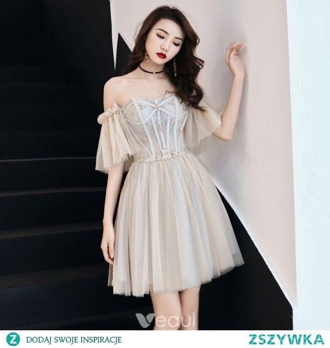 Uroczy Szampan Strona Sukienka 2019 Princessa Przy Ramieniu Kryształ Kótkie Rękawy Bez Pleców Krótkie Sukienki Wizytowe