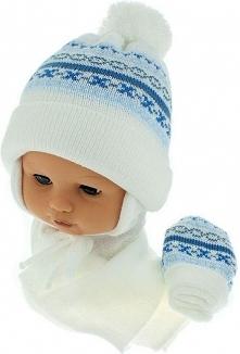 Czapka niemowlęca z szalikiem i rękawiczkami CZ+S+R 013C