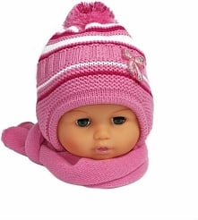 Czapka niemowlęca z szalikiem CZ+S 154D