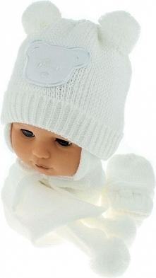 Czapka niemowlęca z szalikiem i rękawiczkami CZ+S+R 124C