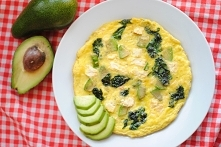 Omlet z awokado i szpinakiem  Składniki /1 szt./:      3 jajka     garść szpinaku     1/2 awokado     25 g wędzonego twarogu     2 łyżki wody lub mleka     sól, pieprz     1 łyż...