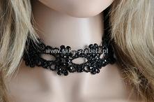 Kolia, biżuteria czarna, choker z kryształkami