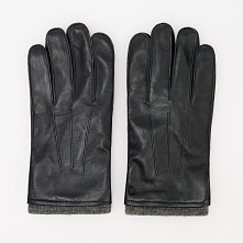 Rękawiczki skórzane z wełną - Czarny