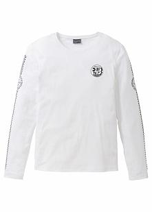 Shirt z długim rękawem Slim Fit bonprix biały