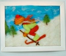 Dziewczynka szusująca na nartach. Obraz z kolekcji Winter  Magisches Atelier Art Madam.pl