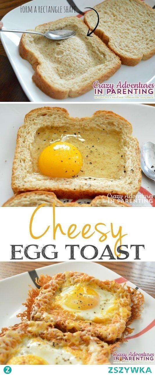 Chleb tostowy z jajkiem i żółtym serem
