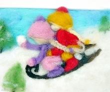 Na saneczkach. Obraz z kolekcji Winter.
