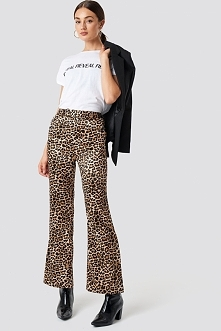 NA-KD Trend Spodnie Flared Shiny Leo - Brown