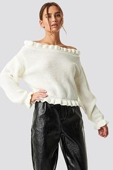 Glamorous Sweter z odkrytymi ramionami - White,Offwhite