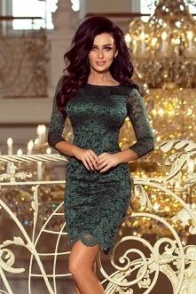 Śliczna i kobieca koronkowa zielona sukienka z rękawkiem 3/4 - taki ideał na ważniejsze wyjścia typu studniówka, wesele, karnawał, sylwester itp.