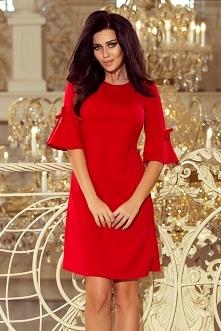 87a2b6883e Śliczna czerwona skromna sukienka z rozkloszowanymi rękawkami z kokardkami.  Trapezowa.  ) numoco