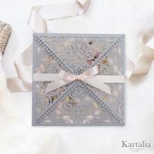 Eleganckie zaproszenie ślubne koronkowe ażurowe