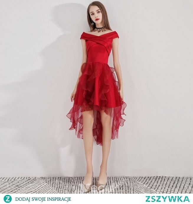 Piękne Burgund Sukienki Koktajlowe 2019 Princessa V-Szyja Bez Rękawów Wzburzyć Asymetryczny Sukienki Wizytowe