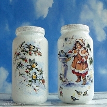 Święta. Zima. Dekoracja. Komplet dwóch szklanych słoiczków z kolekcji  Winter