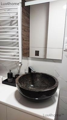 Czarna umywalka z marmuru n...