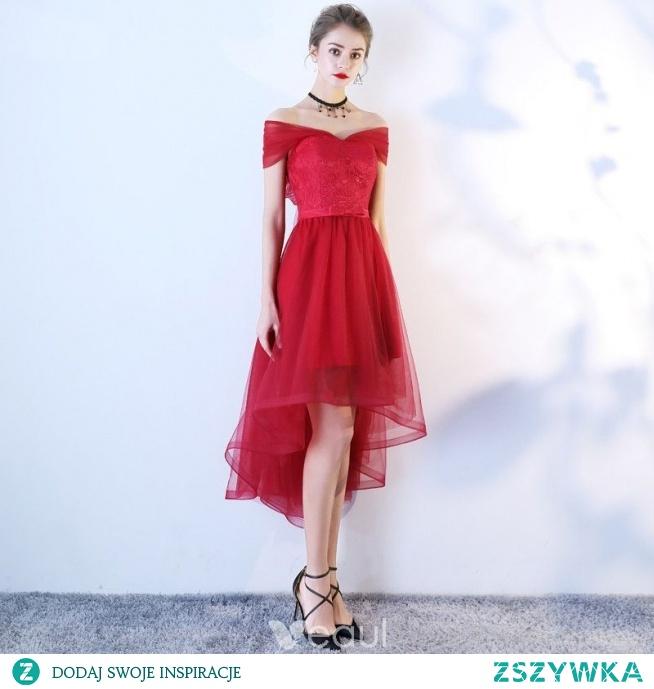 Piękne Burgund Sukienki Koktajlowe 2019 Princessa Przy Ramieniu Z Koronki Kwiat Kokarda Kótkie Rękawy Asymetryczny Sukienki Wizytowe