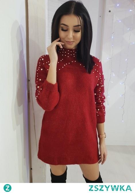 Sweter PEARL long czerwony. Ottanta - sklep online