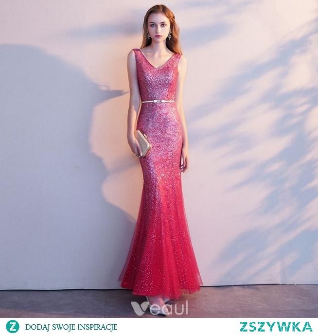 91686c4a06 Uroczy Czerwone Sukienki Wieczorowe 2019 Syrena   Rozkloszowane.. na ...
