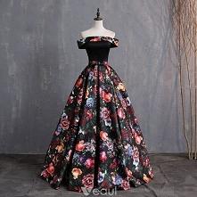 Vintage Multi-Kolory Druk Sukienki Na Bal 2019 Suknia Balowa Przy Ramieniu Kokarda Kótkie Rękawy Bez Pleców Długie Sukienki Wizytowe