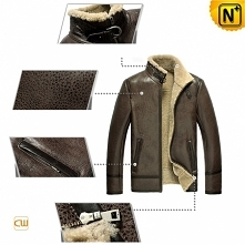 Sheepskin Flight Jacket | CWMALLS® Boston Mens Custom Shearling Jacket CW856077 [Free Shipping]