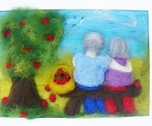 Dziadkowie podziwiający odlatujące bociany. Obraz z kolekcji Liebe Familie. M...