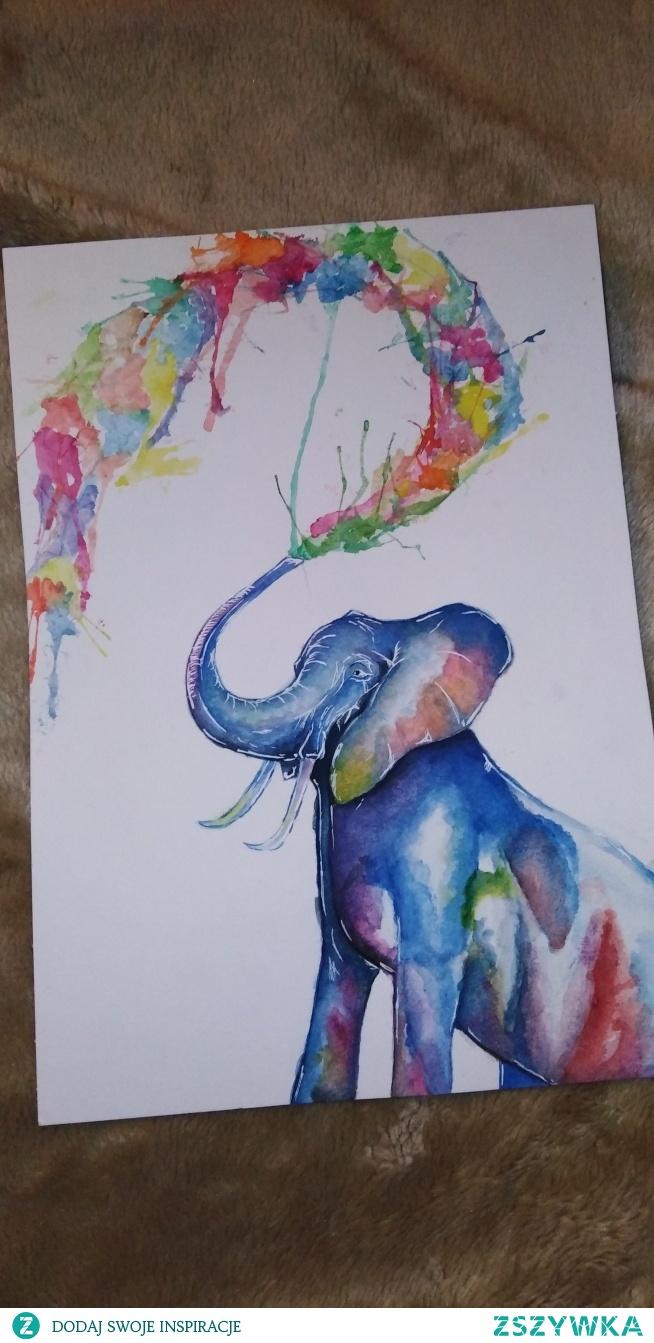 słoń namalowany akwarelami