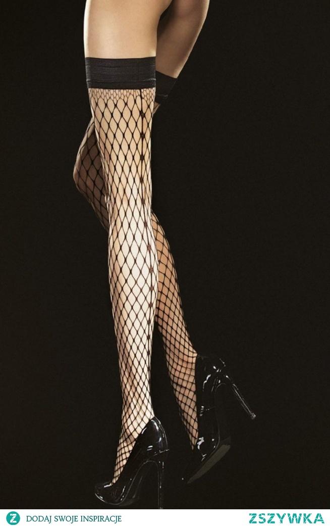 Fiore Intensa pończochy Eksluzywne pończochy samonośne , typu kabaretka z dużym oczkiem, guma podtrzymująca z podwójnym paskiem silikonu, bez zaznaczonej części palcowej