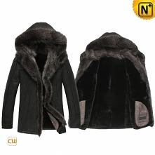 Men Fur Jacket | CWMALLS® Denver Hooded Shearling Fur Jacket CW851337 [Custom Made]