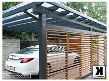 Wiata samochodowa z regulowanymi ścianami. Wykonana z drewna DSH projekt na w...