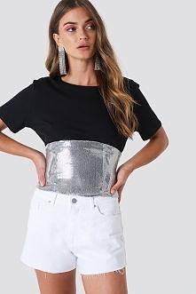 Galore x NA-KD Srebrny gorset z cekinami - Silver