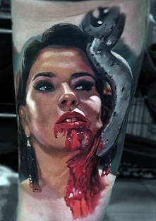 realistic tattoo woman face